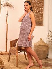 Мамаландия. Сорочка для беременных и кормящих с кнопками, лапки на коричневом