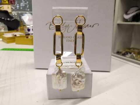 Серьги в виде цепи с жемчугом Aurora Elegante золотистый