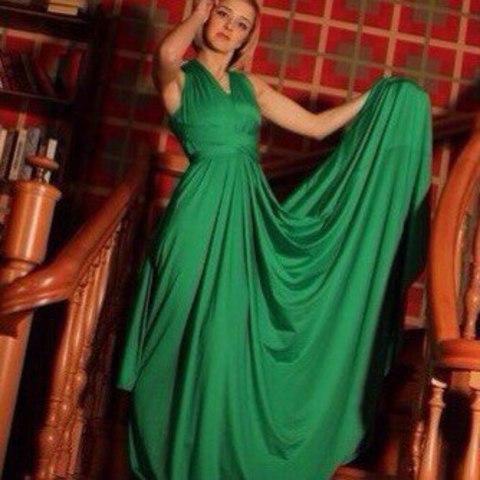 Длиннное вечернее платье-трансформер, зеленое 2