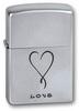Зажигалка Zippo Love с покрытием Satin Chrome, латунь/сталь, серебристая, матовая, 36x12x56 мм