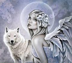 Картина раскраска по номерам 40x50 Девушка с крыльями и волчица