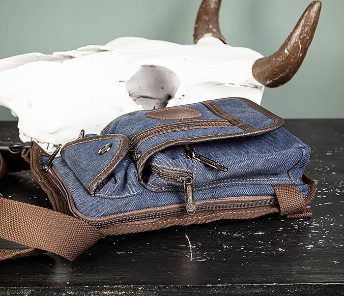 BAG506-3 Небольшая сумка на бедро из текстиля синего цвета фото 06