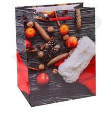Пакет подарочный с глянцевой ламинацией 18x23x10 см (M) Новогодний носок с подарками.