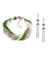 Комплект украшений из бисера розово-зеленый (серьги из бисера, бисерный браслет)