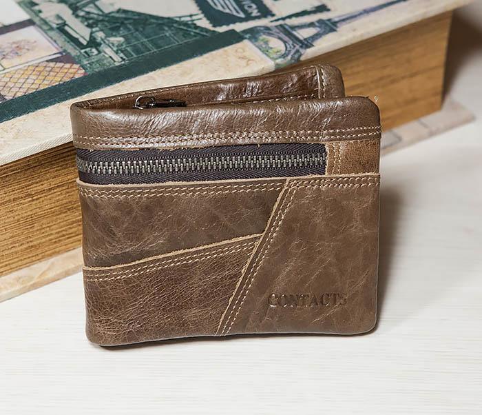 WL258-2 Удобное мужское портмоне из кожи с отделением на молнии