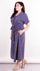 Сара. Стильна міді сукня для повних. Синя смужка.
