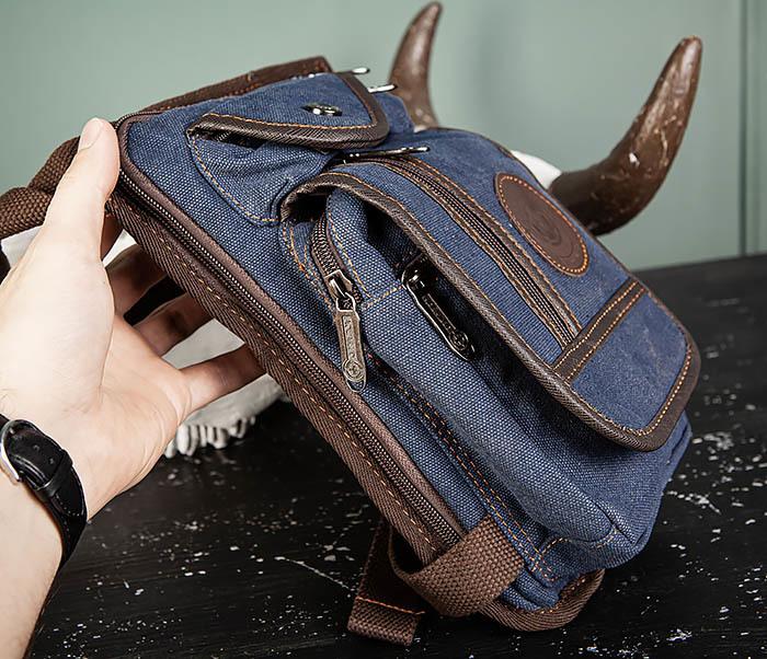 BAG506-3 Небольшая сумка на бедро из текстиля синего цвета фото 07