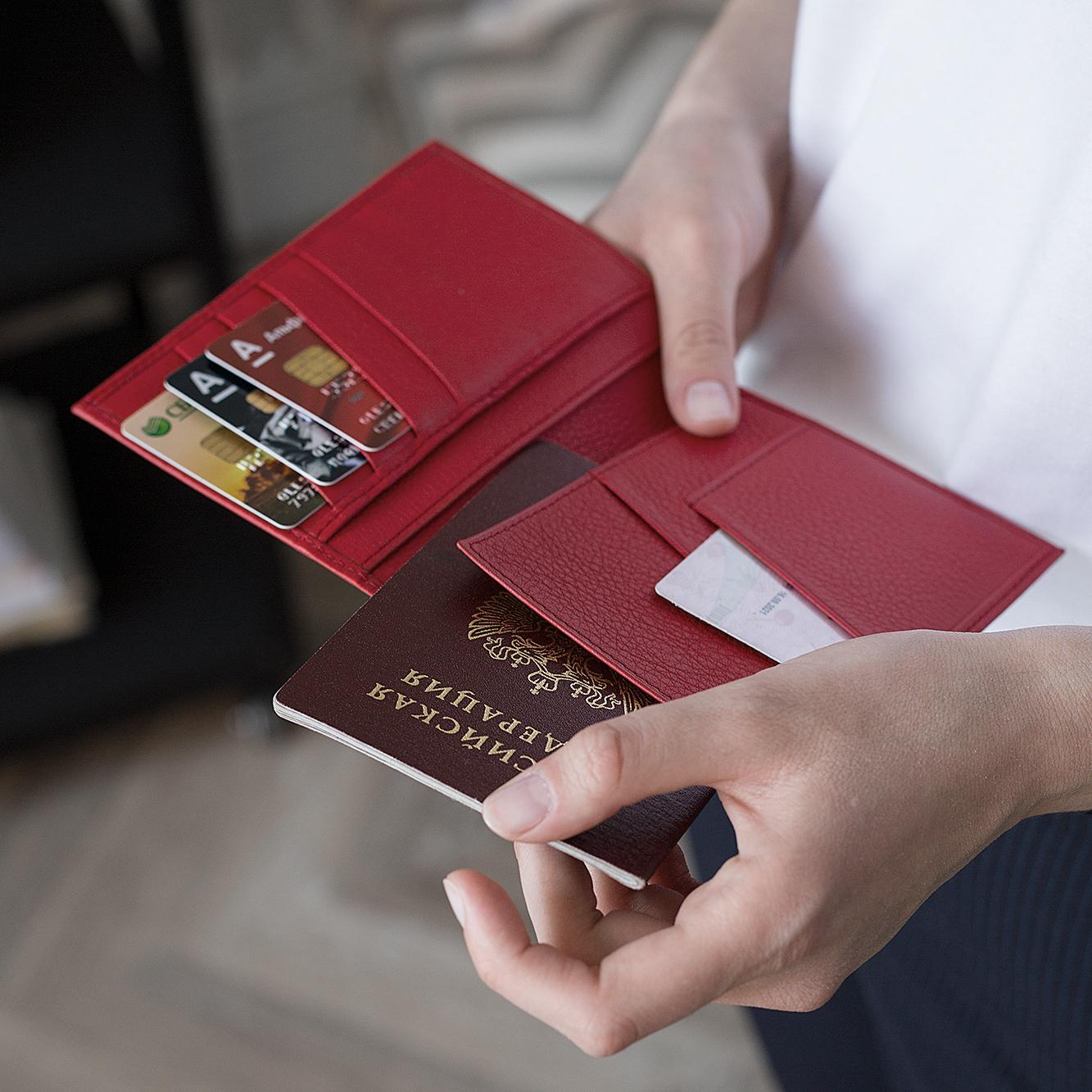 Обложка для паспорта и автодокументов Paris Easy из натуральной кожи теленка, красного цвета