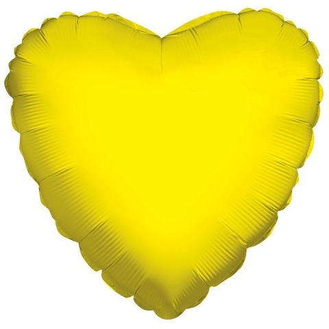 Шар сердце Желтый, 45 см