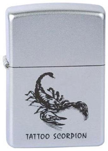 Зажигалка Zippo Tattoo scorpion с покрытием Satin Chrome™, латунь/сталь, серебристая, матовая