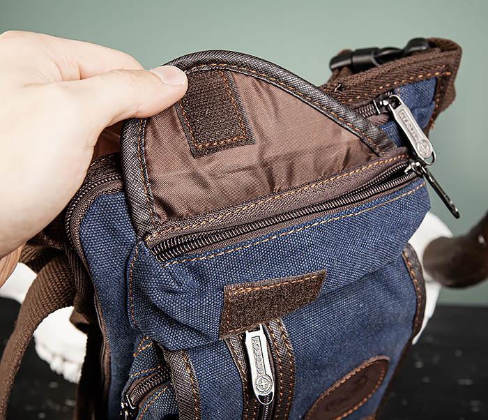 BAG506-3 Небольшая сумка на бедро из текстиля синего цвета фото 08