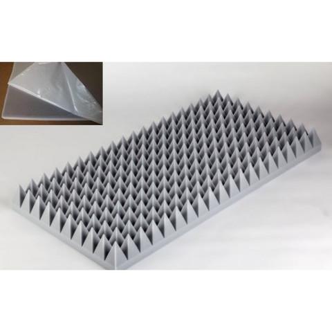 негорючая  акустическая панель  Пирамида ECHOTON FIREPROOF 100x50x10cm   серый с адгезивным слоем