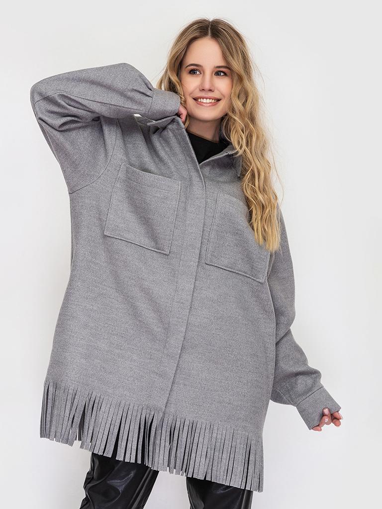 Теплая серая рубашка с бахромой YOS от украинского бренда Your Own Style