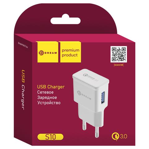 ЗУ S10 USB 2.4A QC3.0 белый DREAM