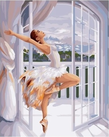 Алмазная Мозаика 40x50 Балерина у окна (арт. HWSA5135)