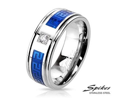 R-M2195-8 Стальное кольцо со вставками синего цвета и камнем