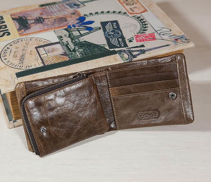 WL258-2 Удобное мужское портмоне из кожи с отделением на молнии фото 03