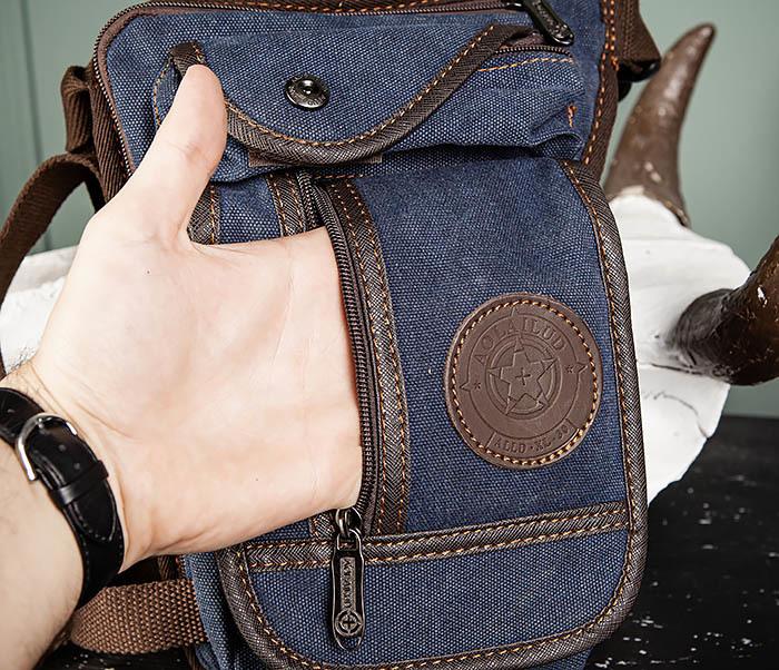BAG506-3 Небольшая сумка на бедро из текстиля синего цвета фото 09