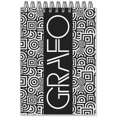 Блокнот Полином Графо А6 50 листов черный/белый в клетку на спирали (101х145 мм)