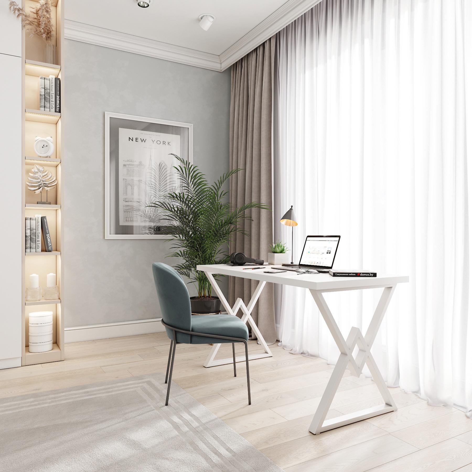 Письменный стол ДОМУС Аксиом белый/металл белый