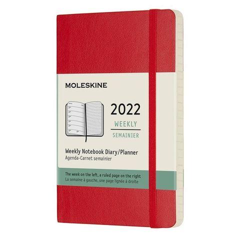 Еженедельник Moleskine (DSF212WN2) Classic Soft WKNT Pocket 90x140мм 144стр. мягкая обложка красный