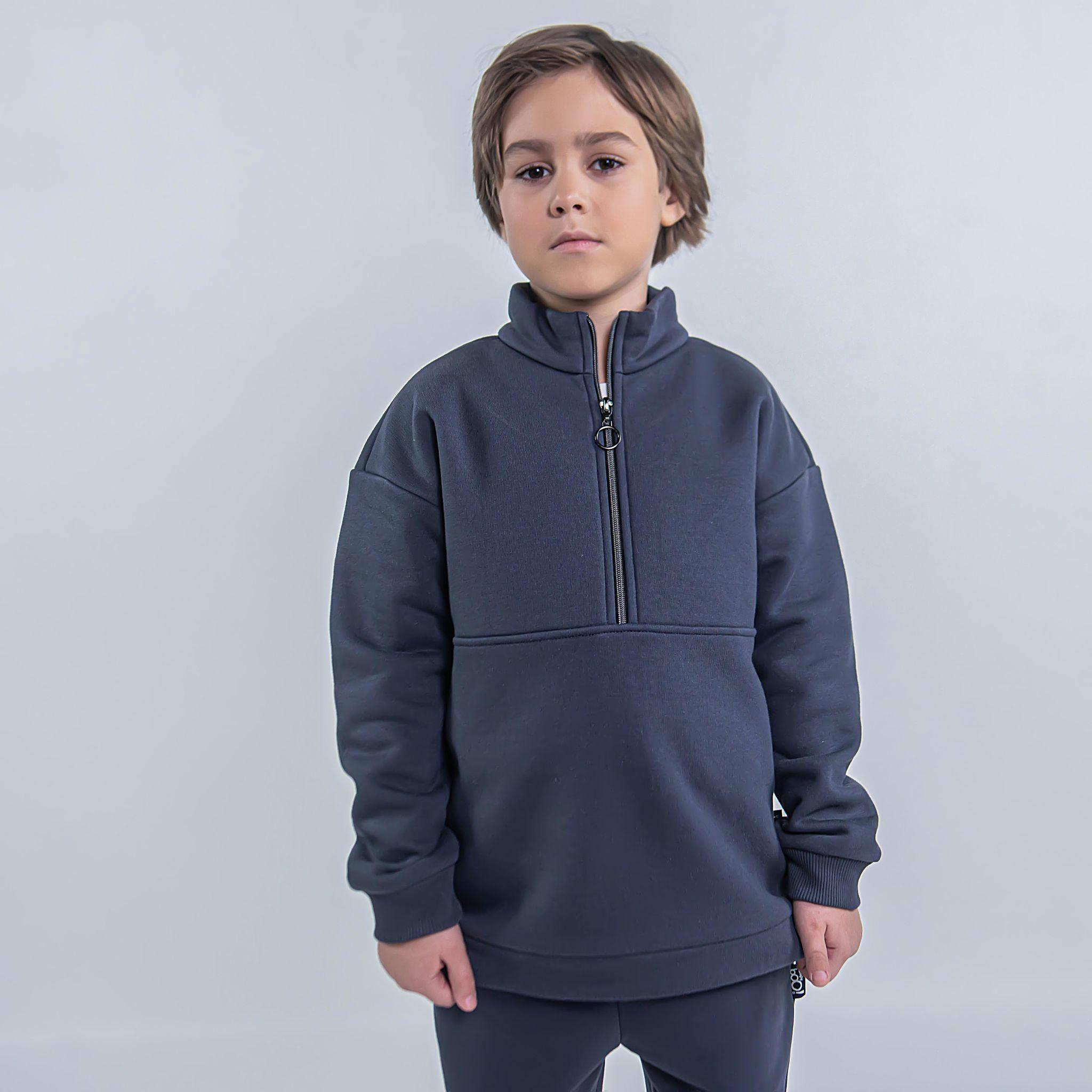 Warm sporty sweatshirt for teens - Graphite