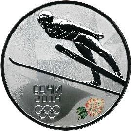 3 рубля. Прыжки на лыжах с трамплина - Олимпийские зимние игры в Сочи. 2014 год