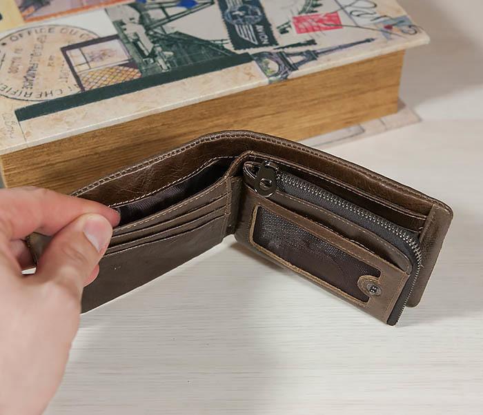 WL258-2 Удобное мужское портмоне из кожи с отделением на молнии фото 04
