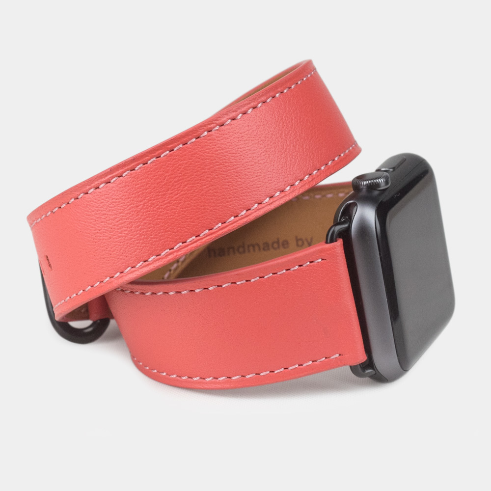 Ремешок для Apple Watch 42мм ST Double Strap из натуральной кожи теленка, кораллового цвета