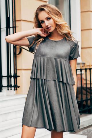 Короткое замшевое платье, серое 2