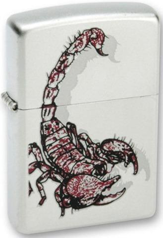 Зажигалка Zippo Scorpion color с покрытием Satin Chrome™, латунь/сталь, серебристая, матовая