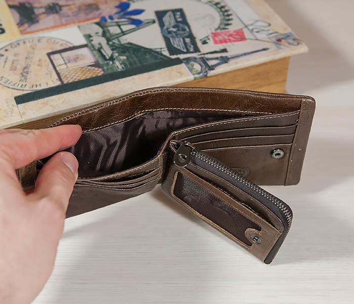 WL258-2 Удобное мужское портмоне из кожи с отделением на молнии фото 05