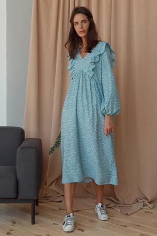 Платье миди с рюшами в горох, бирюзовый