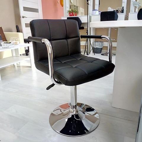 Ножка (основание, каркас) для полубарного стула (стул мастера) в сборе, газлифт, на базе D-415 мм, регулировка высоты 37,5-53 см, вращение 360°, хром