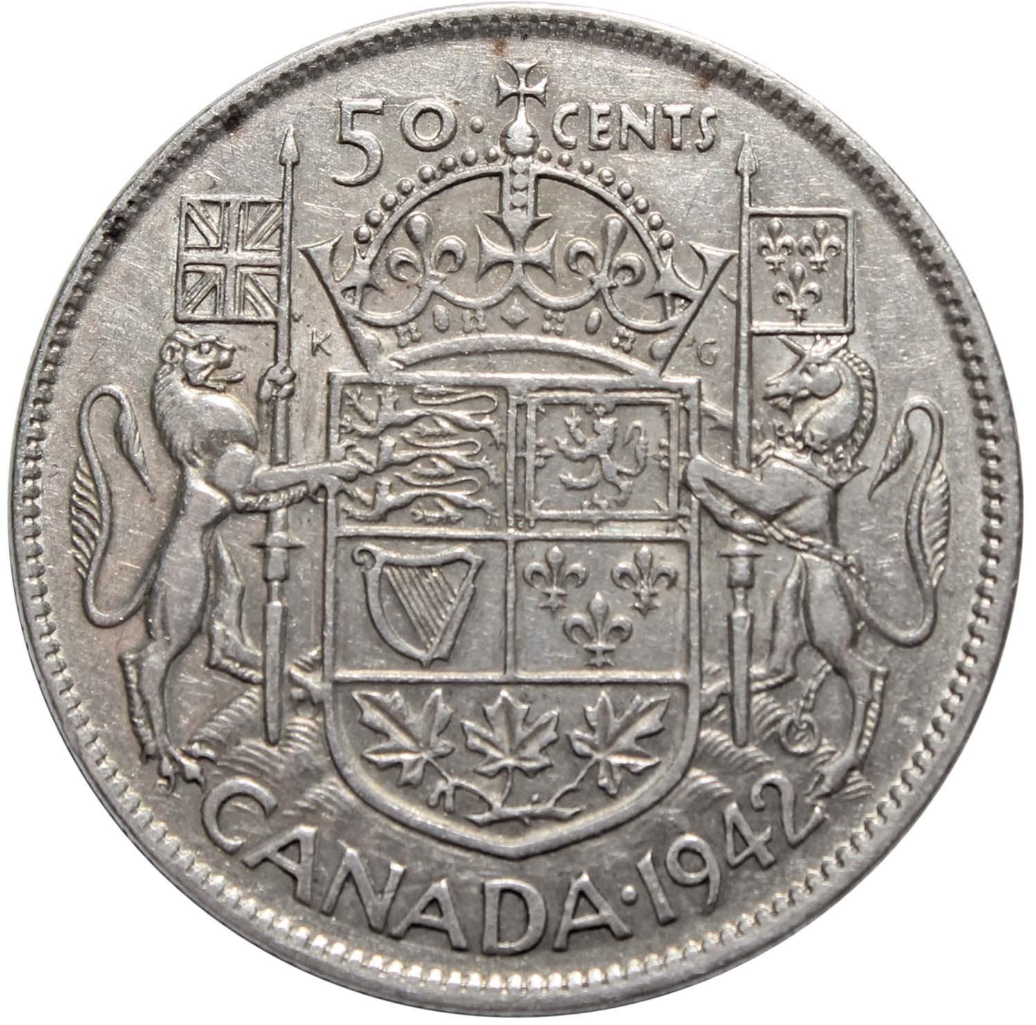 50 центов. Канада. Серебро. 1942 год. VF-XF