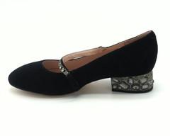 Туфли черная замша на маленьком устойчивом каблуке с перемычкой