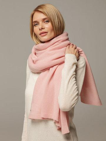 Женский шарф светло-розового цвета из 100% кашемира - фото 4
