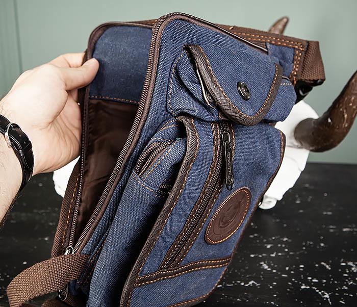 BAG506-3 Небольшая сумка на бедро из текстиля синего цвета фото 12
