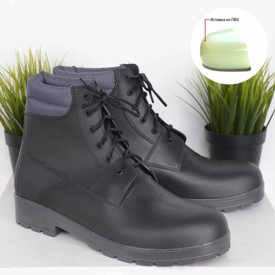 Резиновые ботинки мужские для города Nordman Rover черные с серой подошвой усиленные
