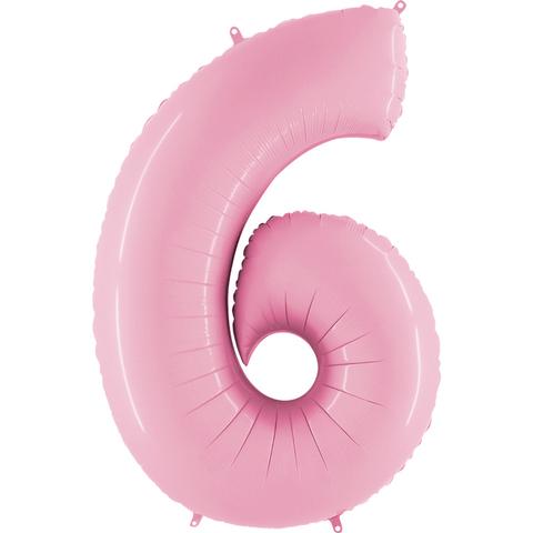 Цифра шесть - розовая