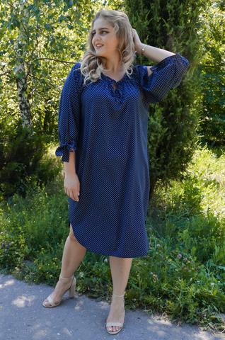 Алевтина. Нежное платье больших размеров. Синий горошек.