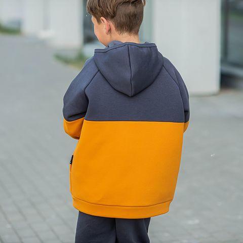 Color block warm sweatshirt for teens - Graphite/Amber Yellow