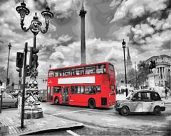 Картина раскраска по номерам 50x65 Красный автобус в туристическом городе