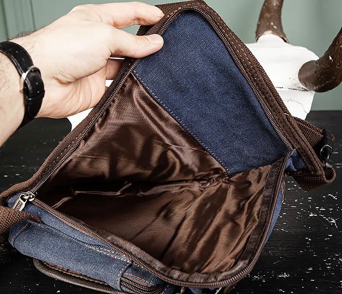 BAG506-3 Небольшая сумка на бедро из текстиля синего цвета фото 13