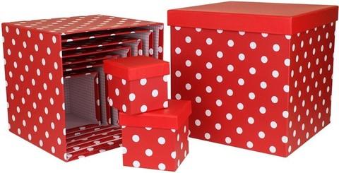 Коробка Куб, Белые точки, Красный, 26*26*26 см
