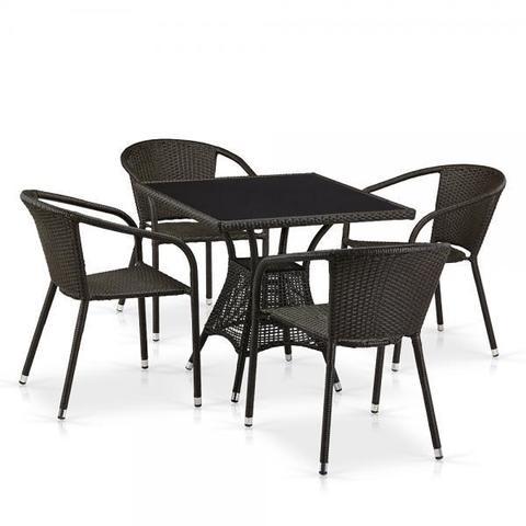 Обеденный комплект плетеной мебели из искусственного ротанга T197BNS-W53/Y137C-W53 Brown 4Pcs