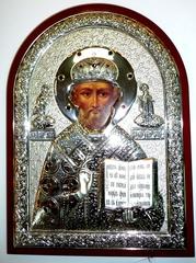 Серебряная инкрустированная гранатами икона святителя Николая Чудотворца (Угодника) 34х25см в подарочной коробке