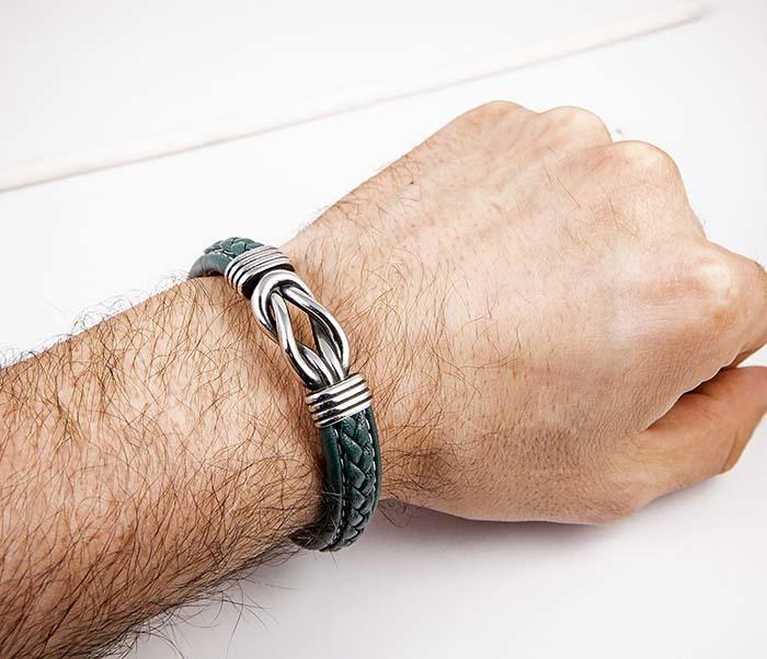 BM434-1G Кожаный браслет зеленого цвета фото 04