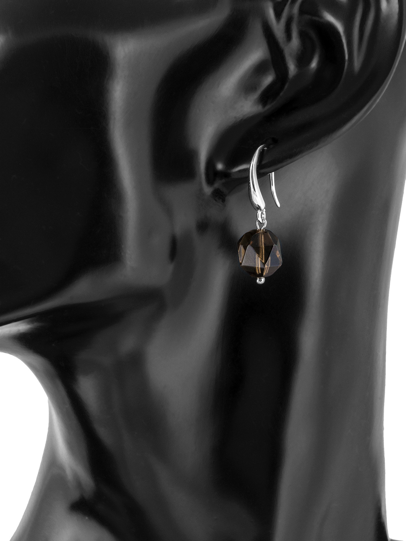 Серебряные серьги с граненым раухтопазом