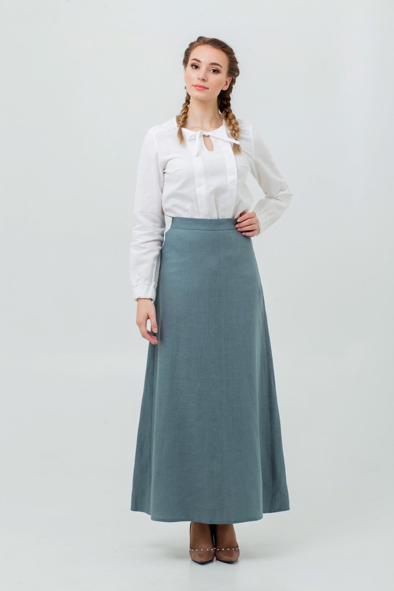 Длинная юбка макси из льна